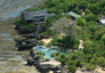 Aerial view of Lazy Lagoon at Charlie Claw's on Wasini Island
