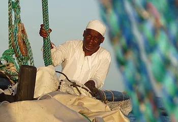 a trader dhow sailing