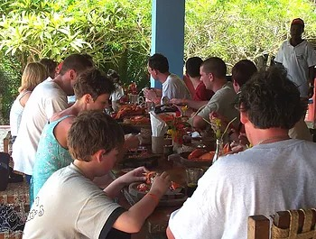 Swahili cuisine at Charlie Claw's restaurant on Wasini Island