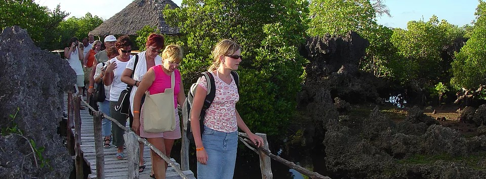 Tourists visiting the Wasini Womens Boardwalk